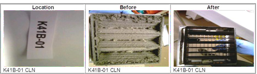 before / after of hospital vent grille